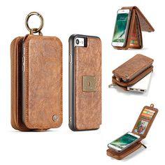 CaseMe iPhone 7 Zipper Wallet Magnetic Detachable Flip Leather Case