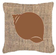 Shell Burlap Indoor/Outdoor Throw Pillow
