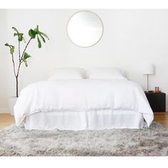 Washed Linen Pleated Bed Skirt - WHITE