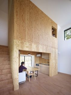 """Belly House by Tomohiro Hata Architect and Associates """"Location: Kyoto, Kyoto Prefecture, Japan"""" 2010 Residential Architecture, Interior Architecture, Interior And Exterior, Decoration Design, Deco Design, Tiny Spaces, Small Rooms, Small Japanese House, Plywood House"""