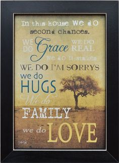 Framed Print In This House We Do Grace Hugs Love Family Primitive Country Rustic Inspirational Quote Wall Art Decor 14 x Wall Art Quotes, Quote Wall, Window Quotes, Poster Prints, Framed Prints, Framed Artwork, Country Curtains, In This House We, Art Deco Home