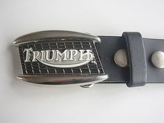TRIUMPH BELT BUCKLE WITH GENUINE LEATHER SNAP ON BELT WAIST 28 - 52 #Unbranded