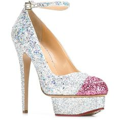 Charlotte Olympia 'Kiss Me Dolores' pumps ($644) ❤ liked on Polyvore featuring shoes, pumps, pink stilettos, stiletto pumps, pink glitter pumps, ankle strap stilettos and pink pumps