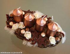 Adventní svícen caffe latte Christmas Crafts, Christmas Decorations, Advent Wreath, Latte, Denim, How To Make, Home Decor, Copper, Holiday Wreaths