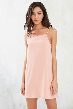 Silence + Noise Scalloped Neckline A-Line Mini Dress - Urban Outfitters