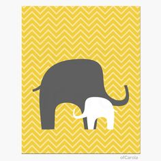 Nursery Wall Art Elephants Chevron Baby Print Kids by ofCarola