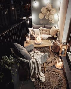 Rustic DIY cabin decorations that look spacious are the popular choice for many people. If you live in a small house, you can make your home look spacious by using rustic cabin decors. Apartment Balcony Decorating, Apartment Balconies, Apartment Living, Apartment Ideas, Living Room, Small Balcony Decor, Balcony Ideas, Conservatory Ideas, Balcony Plants