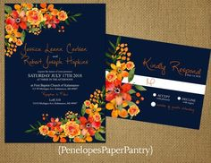 Elegant Fall Wedding Invitations,Orange and Yellow Wildflowers,Navy,Romantic,Traditional,Unique,Opt RSVP Card, Customizable,White Envelopes