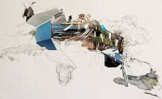 Extended Coastline by Mimi Tong - photographic collage and ink