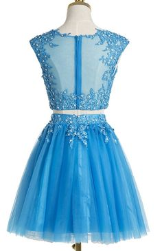 2018 evening gowns - Sky blue tulle two pieces lace O-neck see-through short prom dresses, sexy party dresses