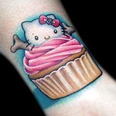 ~Hello Kitty Cupcake~ by Brandie Popps Life Tattoos, All Tattoos, Sleeve Tattoos, Food Tattoos, Hello Kitty Cupcakes, Cat Cupcakes, Cupcake Art, Hairstylist Tattoos, Boston Tattoo