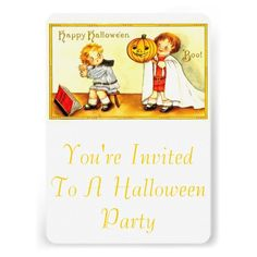 Vintage Simple Halloween Party Invitation Template