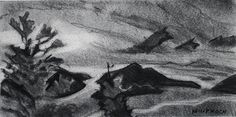 """Philip Koch, From Day to Night, vine charcoal, 7 x 14"""", 2011. A studiy for the large oil painting of the same title."""