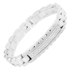 Zales Mens 1/10 CT. T.w. Diamond ID Bracelet in Stainless Steel - 8.5 EMEINv
