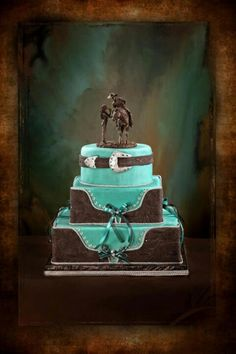 Country Wedding Cakes Turquoise and brown western wedding cake Cowboy Wedding Cakes, Cowboy Cakes, Cowgirl Wedding, Country Wedding Cakes, Cowboy Weddings, Country Weddings, Western Weddings, Barn Weddings, Horse Wedding