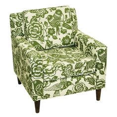 Green floral printed chair.