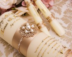 Wedding Unity Candle Set in Champagne and Gold Floating Candles Wedding, Big Candles, Candle Wedding Centerpieces, Gold Candles, Unity Candle Holder, Candle Set, Candle Reading, Jewel Colors, Gold Wedding Invitations