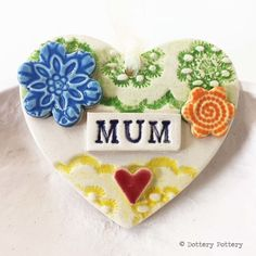 Pottery decoration Mum Heart Ceramic lace pattern Mother's Day £6.50
