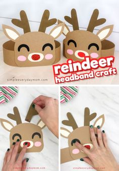 This reindeer headband is a fun Christmas craft for kids! It comes with a free printable template or - This reindeer headband is a fun Christmas craft for kids! It comes with a free printable template or - Kids Crafts, Daycare Crafts, Classroom Crafts, Toddler Crafts, Crafts For Teens, Preschool Crafts, Preschool Christmas, Christmas Crafts For Kids, Christmas Activities