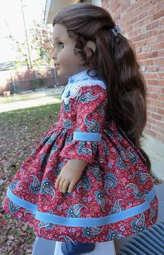 """18"""" Doll Clothes Historical 1850's Civil War Style Dress Fits American Girl Cecile, Marie Grace, Addy"""