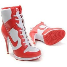 online store 4ddc8 7d137 Nike Dunks High Heels RedWhite