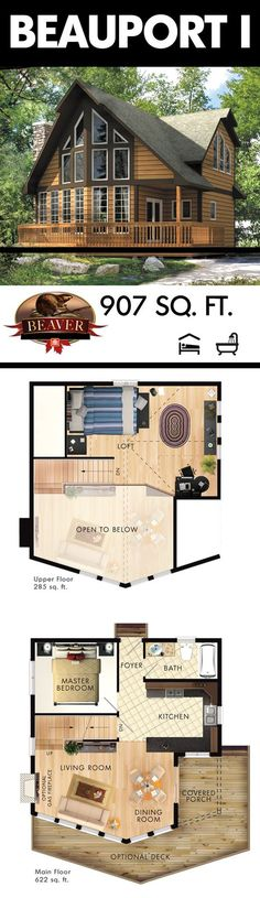 The Beauport I is a picture-perfect multi-story cottage. It might only be 907 square feet, but it has many features to offer. Cabin House Plans, Log Home Plans, Cabin Floor Plans, Tiny House Cabin, Dream House Plans, Cabin Homes, Small House Plans, Log Homes, Beaver Homes And Cottages