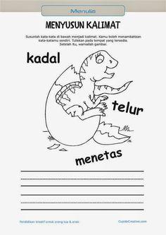 belajar membaca & menulis anak TK/SD, menyusun kata menjadi kalimat & mewarnai gambar dinosaurus