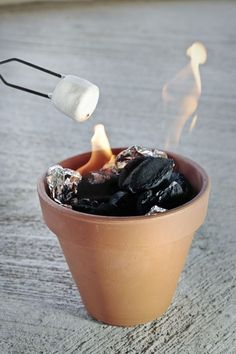 Put charcoal in a foil lined terra cotta pot for table top s'mores! Perfect summer party idea!