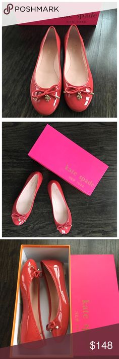 Kate Spade Patent Leather Bow Flats Kate Spade patent leather flats with bow and gold spade. Color is a pinkish red. Brand new, but there is a little sticker residue where the price tag was(on the bottom of the shoes). Ships in box. Size 7(true to size). Kate Spade Shoes Flats & Loafers