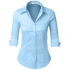 LE3NO Womens Roll Up 3/4 Sleeve Button Down Shirt with Stretch ($7.99) ❤ liked on Polyvore featuring tops, shirts, button up shirts, stretch button down shirt, shirt top, button up top and blue shirt