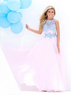 afd7b9b68b64 Tony Bowls Le Gala 115567 Lace and Iridescent Chiffon Gown - French Novelty
