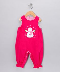 Look at this Hot Pink Frosty Corduroy Playsuit - Infant on #zulily today!