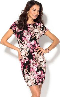Vestido manga corta flores elástico rosa venca el-rosa