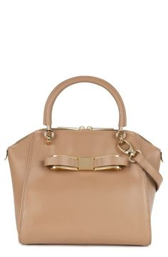 Nude bow tote with cross body strap