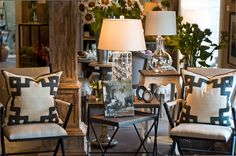 Classy folding #chairs with overstuffed throw #pillows at #Dovecote at #Fearrington