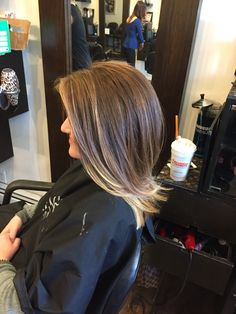 Balayage ombré on short bob with dirty brown hair