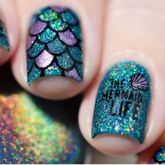Loving this manicure by shannasnailadventures and omg look at the new mermaid emojis! twinkled t items used here teal and purple nails nails nail nail art purple nails nail ideas teal nails Summer Acrylic Nails, Acrylic Nail Art, Summer Nails, Nail Art Designs, Beach Nail Designs, Nail Designs For Kids, Cute Nails, Pretty Nails, My Nails