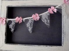 Lace mini banner or bunting 3foot with cream 2 lace by glowinggirl, $20.00