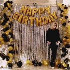 Accessories Happy Birthday Golden Foil+ 2 Pcs Silver Fringe Curtain(3 X 6 Feet)+30 pcs Metallic Balloons (Black,Gold,Silver) Material: Latex  Size: 16 in Curtain Size (L x W) : 6 ft x 3 ft Description: It Has 1 Piece Of Happy Birthday Foil Balloon 2 Pieces Of Silver Fringe Curtains & 30 Pieces Of Metallic Balloons Country of Origin: India Sizes Available: Free Size   Catalog Rating: ★4.1 (13599)  Catalog Name: Essential Beautiful Happy Birthday Foil Balloons CatalogID_817882 C127-SC1621 Code: 703-5482763-027