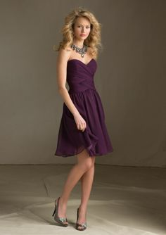 Dark Purple Sweetheart Bridesmaid Dress #strapless