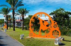 Time After Time,  Rishon Lezion, Israel.  Painted Metal  Sculpture by Uri Dushy