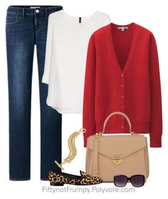"""""""Weekend Fabulous"""" by fiftynotfrumpy ❤ liked on Polyvore featuring Uniqlo, MANGO, CHARLES & KEITH, Merona, Lauren Ralph Lauren and Nine West"""