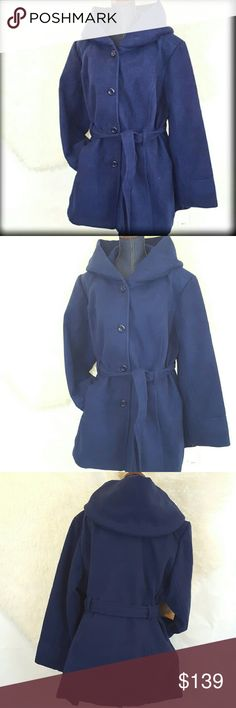 """30%/2 NWT C&B 2X Navy Hooded Winter Jacket Coat Just listed! Color: Navy Size : 2X Brand: Croft & Barrow MSRP: $180.00 PRODUCT FEATURES: * Single-breasted button closure * Lined * Long sleeves * Belted *Hooded FABRIC : * 86% Polyester, 10% Rayon,2% Spandex Approximate flat measurements : 10: Length: 34 inches underarm to underarm: 26"""", Shoulder Sleeve seam to wrist 25"""". This is a gorgeous winter staple! croft & barrow Jackets & Coats"""