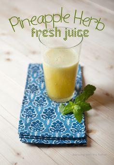 fresh pineapple juice with herbs