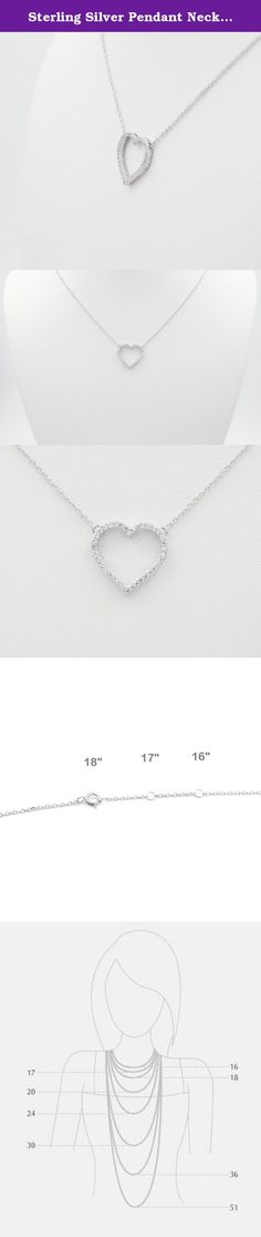 "Sterling Silver Pendant Necklace with CZ Crystal Pave Open Heart Charm, Rhodium Plated 925 Silver, Adjustable Chain Length 16"" - 18"", with Jewelry Box. What is 925 Sterling Silver? To make silver durable enough for use in jewelry, pure silver, which has a .999 fineness (99.9%), is often alloyed with small quantities of copper (7.5%). The copper is added to strengthen the silver and the resulting product is 925 sterling silver (92.5%). What is Rhodium Plating? Rhodium plating is a metal..."