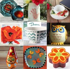 Ceramic Decorating Inspiration, Guides and Tutorials by Duncan Ceramics.  These great projects (and others) can found online on Duncan Ceramics's website.  There is a great assortment of product information, related projects (step-by-step instructions) and guides to help you achieve stunning results when decorating pottery ceramics.  Enjoy!