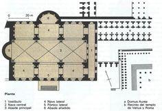 Planta de la basílica de Majencio en Roma.