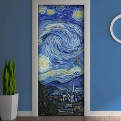"""For my part I know nothing with any certainty, but the sight of the stars makes me dream"" (Vincent Van Gogh) Vincent Van Gogh, Painted Bedroom Doors, Painted Doors, Art Room Doors, Van Gogh Pinturas, Arte Van Gogh, Door Murals, Aesthetic Rooms, Aesthetic Design"