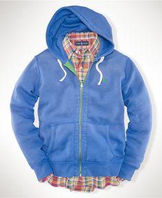 Ralph Lauren Men Mesh Blue Hoody Polo Full Zip Jackets