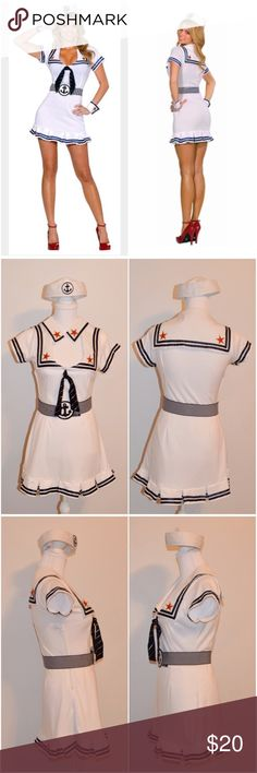 Sailor Halloween Costume Sz M This sexy sailor costume includes a white stretch knit dress with pleated hem, sailor flap collar and star patches with gold detail. Includes hat with vinyl anchor detail, stretch knit belt and wrist cuffs. Can be sexy with bare legs and low cut neck or for a more modest look wear a tank top and tights as I'm wearing in last pic. Length is modest for a women's Halloween costume. A couple snags in the fabric & one small faint green mark pictured under the left…